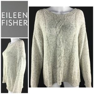 Eileen Fisher Sz L Chunky Cable Knit Sweater